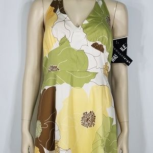 NWT yellow green floral halter neck dress ladies 8